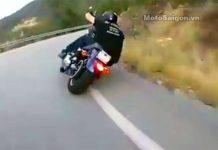 Xe moto Harley ôm cua tốc độ cao trên đèo