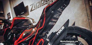 Kawasaki Z800 len tem đấu với những đường chỉ màu đỏn đơn giản mà đẹp
