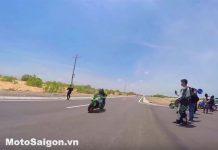 Khoảng khắc mém xảy ra tai nạn moto vì hành động của đồng đội, khi cố gắn đá lon nước ngọt ra khỏi đường
