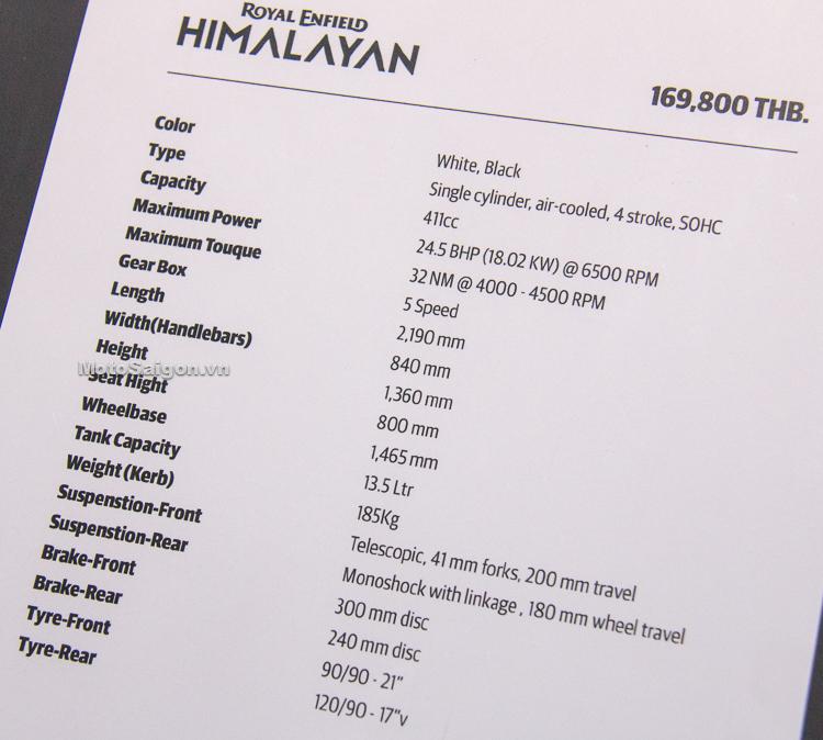 Thông số kỹ thuật của Himalayan