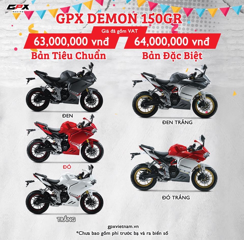 Giá xe GPX Demon 150GR chính hãng tại Việt Nam