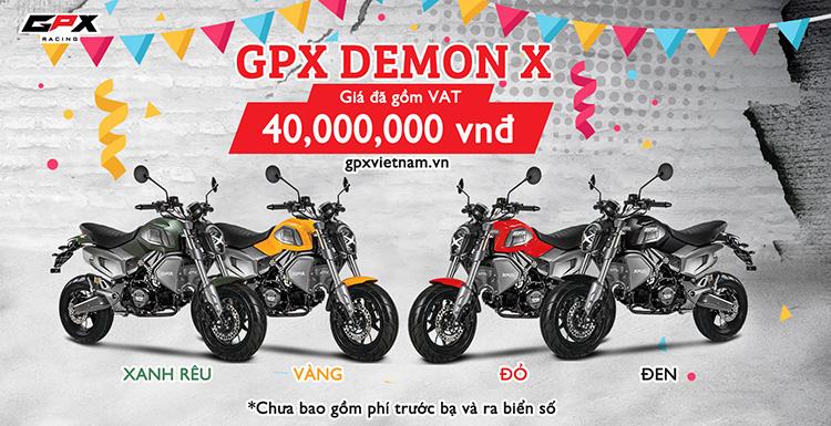 Giá xe GPX Demon X 125 2018 được niêm yết ở mức 40.000.000đ (Đã bao gồm VAT, Chưa phí trước bạ và biển số)