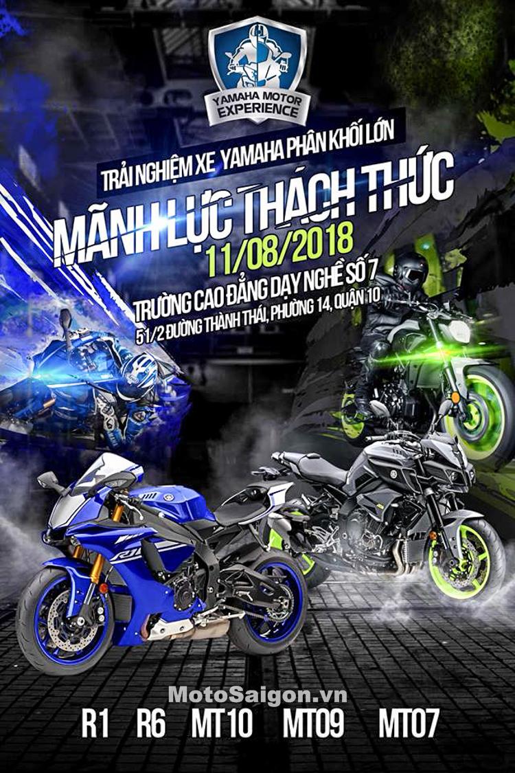 Chương trình trải nghiệm xe Yamaha PKL: Yamaha R6, R1, MT10, MT09, MT07 vào thứ 7 tuần này.