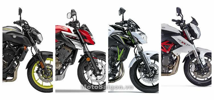So sánh tốc độ tối đa của MT-07 vs CB650F vs Z650 vs BN600i
