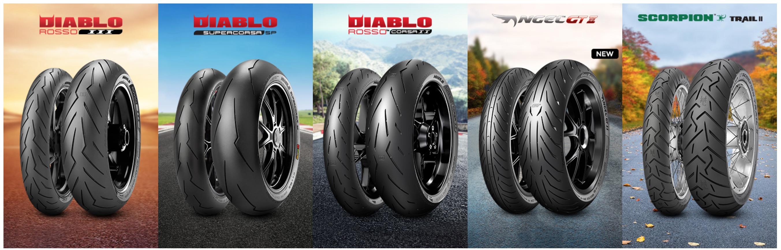 Các dòng sản phẩm lốp xe hiện có của Pirelli dành cho xe máy moto pkl