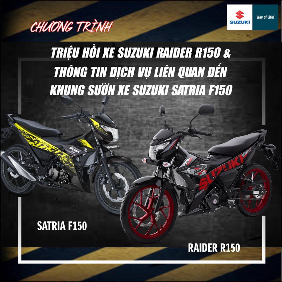 Suzuki Việt Nam triệu hồi Satria F150 và Raider 150 để khắc phục lỗi