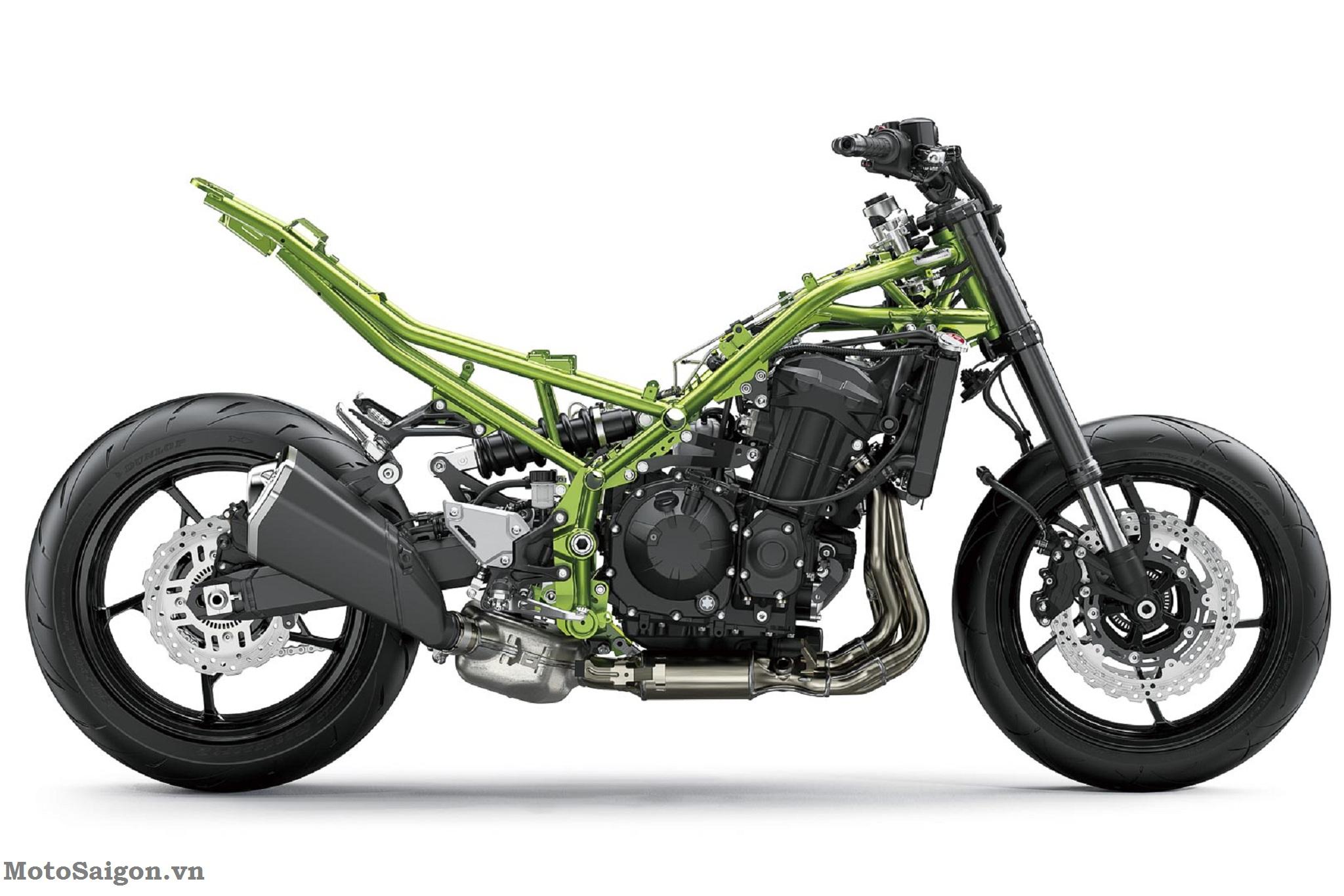 Bộ khung thép rắn chắc của Kawasaki Z900 2020