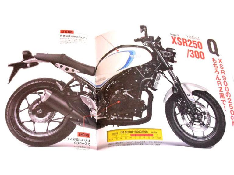 Hình ảnh Yamaha XSR300 trên một cuốn tạp chí