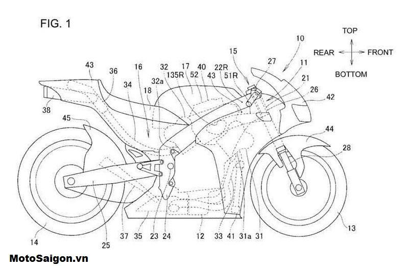 Hình ảnh bằng sáng chế động cơ V4 của Honda
