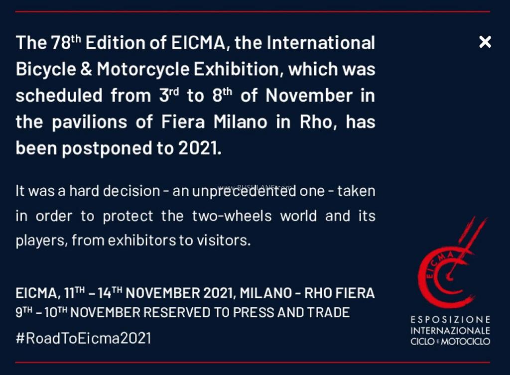 Thông báo của ban tổ chức trên trang chủ của EICMA