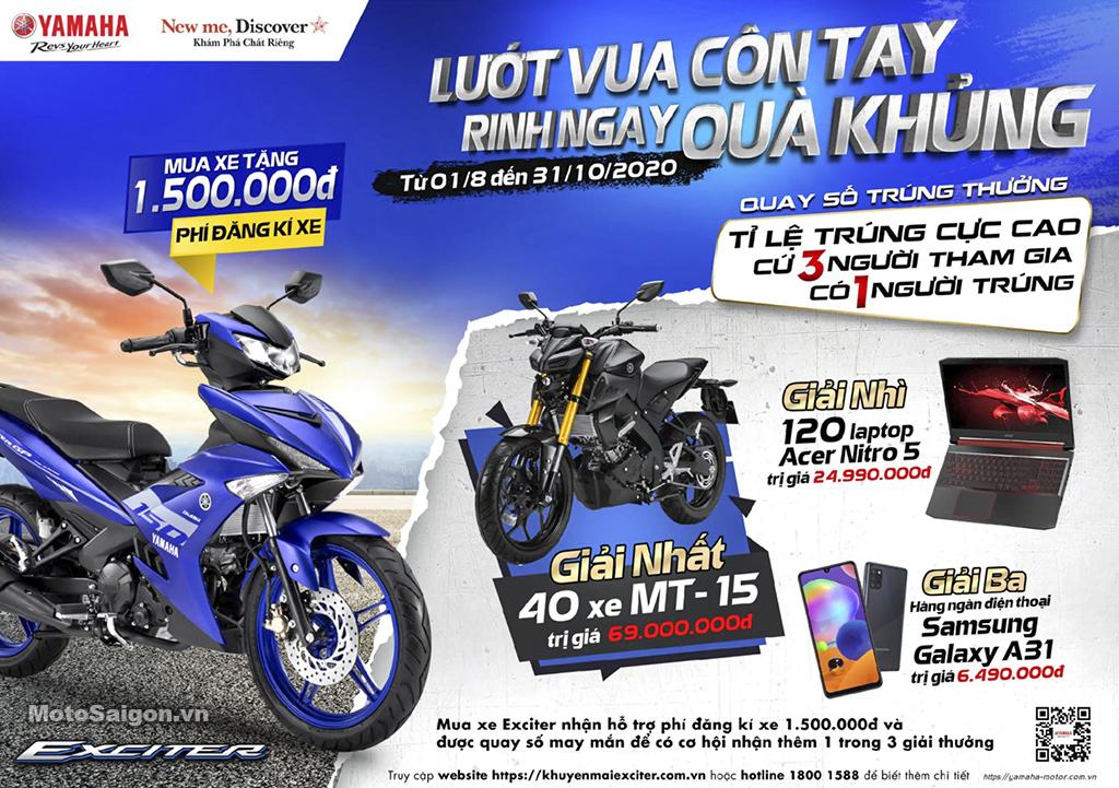 Khuyến mãi khi mua Yamaha Exciter 150 trúng 01 chiếc MT-15 giá 70 triệu đồng