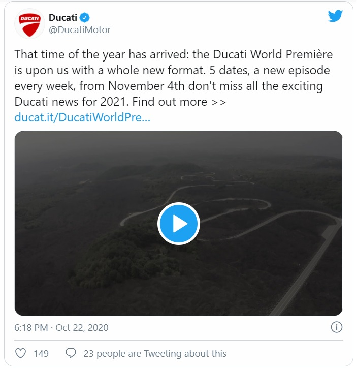 Thông báo của Ducati trên Twitter