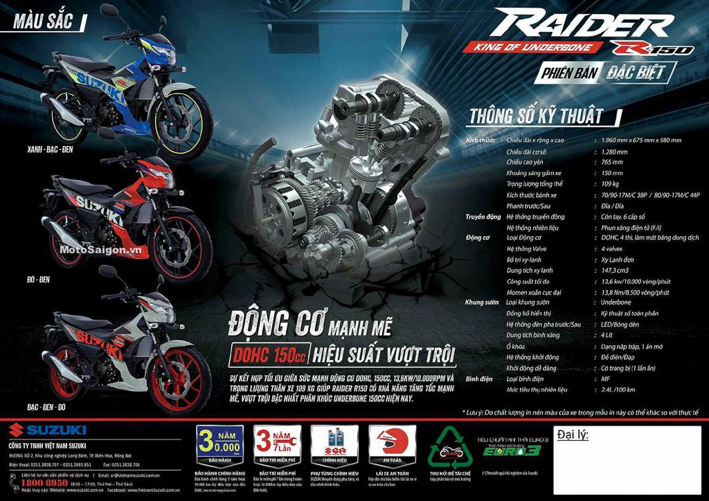 Raider 150 2021 bản đặc biệt đã được Suzuki công bố giá bán
