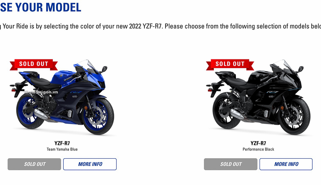 Yamaha R7 đã bán sạch chỉ sau vài ngày