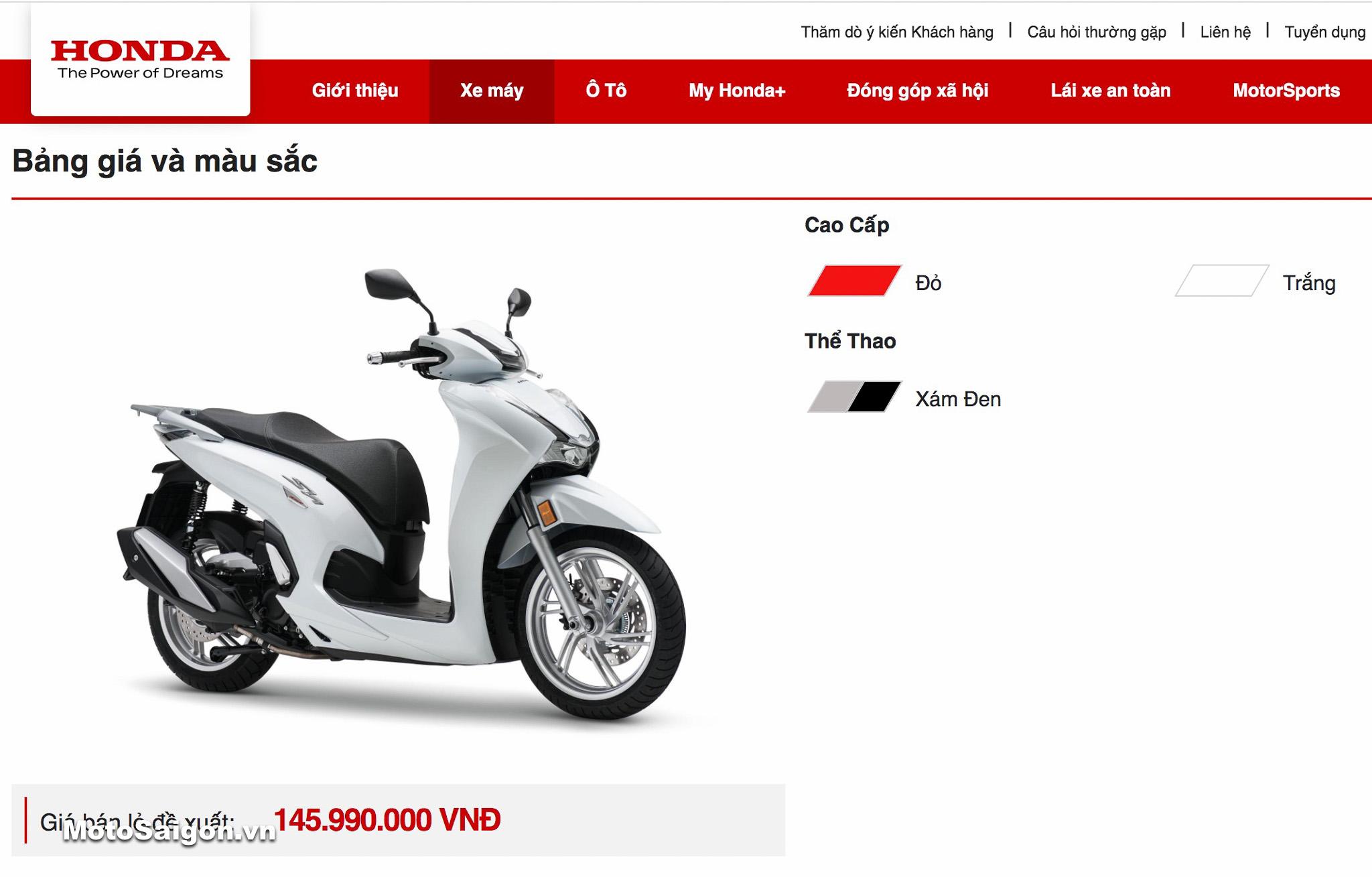 Giá xe Honda Sh350i 2021 chính hãng đã được Honda Việt nam công bố chính thức trên trang chủ