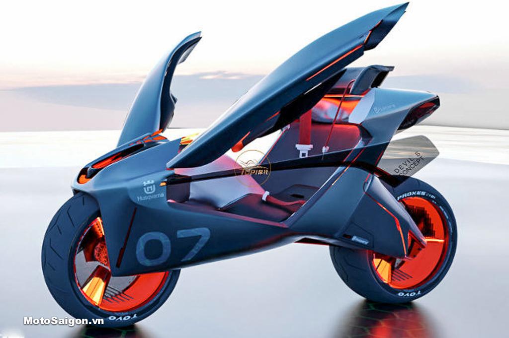 Husqvarna Devil S xe mô tô tương lai tự cân bằng với công nghệ tối tân