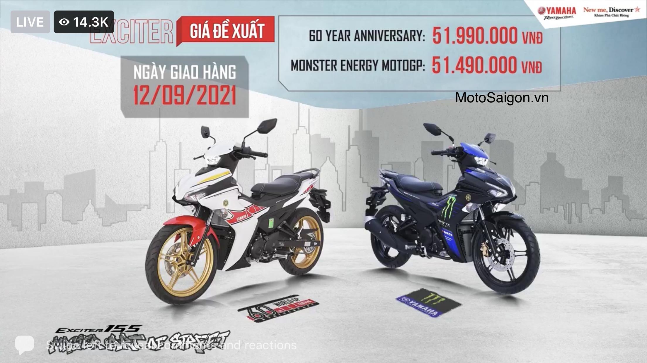 Giá xe Exciter 155 VVA kỹ niệm 60 năm 60th Anniversary và Exciter 155 Monster Energy