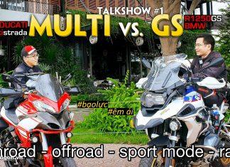Đánh giá xe Ducati Multistrada (anh Lê Thiết Vũ) so sánh với BMW R1250 GS (CTV Nguyễn Thế Dương) sau tour Cần Giờ